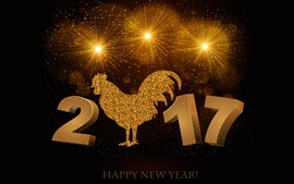 Preview wallpaper Year of the Rooster 2017, golden style, Happy New Year