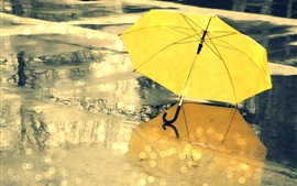 Preview wallpaper Yellow umbrella, street, rain