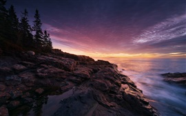 Preview wallpaper Acadia National Park, Maine, USA, sunset, sea, coast, stones, trees