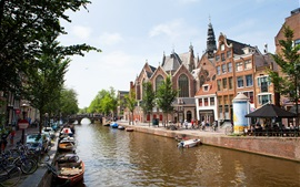 Preview wallpaper Amsterdam, Netherlands, bridge, river, boats, houses