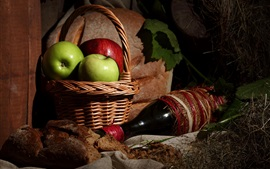 Apples, basket, wine