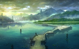 Art painting, park, mountains, bridge, lake, clouds, towers