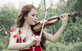 Asian girl, violin, music, nature