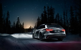 Preview wallpaper Audi RS6 car rear view, winter, snow, night