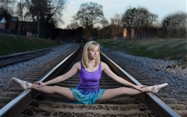 Preview wallpaper Ballerina, railroad, blonde girl, pose