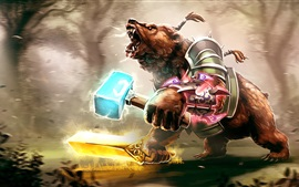 Preview wallpaper Bear warrior, Dota 2, art picture