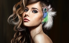 Beautiful fantasy girl, curly hair, feathers