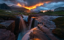 Beautiful nature sunset, clouds, mountains, waterfall, snow