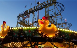 Berlin, roller coaster, carousel, playground, toy duck, lights