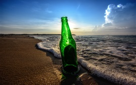 Bottle, beach, waves, sunset