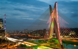 Brazil, Sao Paulo, chain bridge, river, night, lights, illumination