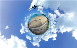 Caribbean, sea, beach, road, planet, clouds, sky, creative picture