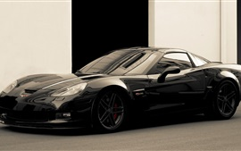 Chevrolet Corvette black supercar side view