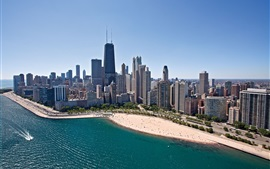 Chicago, skyscrapers, coast, beach, sea, city, USA