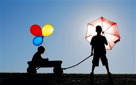 Children, colorful balloons, umbrella, silhouettes
