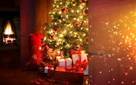 Preview wallpaper Christmas tree, balls, gifts, lights, room