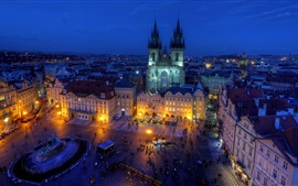 Czech Republic, Old Town Square, night, city, street, houses, lights