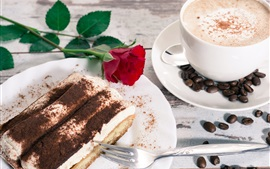 Dessert, tiramisu, cake, coffee, rose
