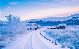 Preview wallpaper Dover, Scandinavian Mountains, winter, snow, road, village, Norway