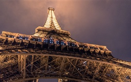 Preview wallpaper Eiffel Tower bottom view, night, illumination
