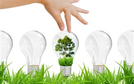 Preview wallpaper Environmental protection, ecology, light bulb, grass, tree, creative design