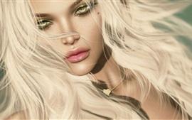 Fantasia garota loira, olhos amarelos
