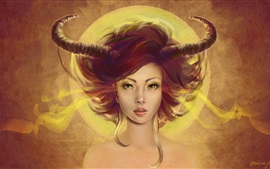 Preview wallpaper Fantasy girl, demoness, horns
