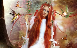 Fantasy red hair girl, kingfisher, butterfly, swing