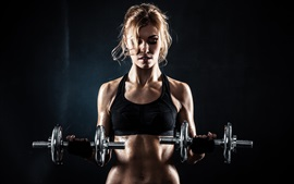 Preview wallpaper Fitness blonde girl, dumbbell, pose, black background