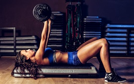 Preview wallpaper Fitness girl, pose, workout, weightlifting
