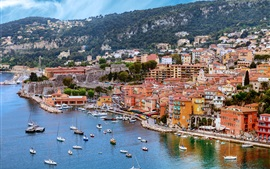 France, Nice, dock, sea, yachts, boats, rocks, houses