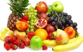 Frutas frescas, melocotones, naranja, piña, peras, manzanas, uvas, plátanos, fresas