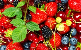 Preview wallpaper Fresh fruits, strawberry, blueberry, blackberry, mint leaves
