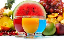 Preview wallpaper Fruit drinks, juice, cocktail, red yellow blue