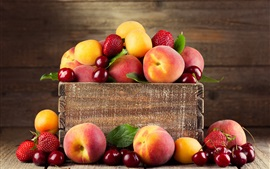 Fruit photography, peach, cherry, strawberry, apricots