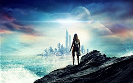 Preview wallpaper Future, sci-fi, city, skyscrapers, sea, girl, planets