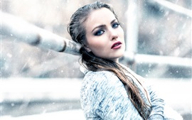 Girl in winter, snow, cold
