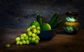 Grapes, green lemon, cucumber, fruit, vase, still life