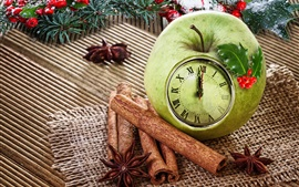 Preview wallpaper Green apple clock, cinnamon, star anise