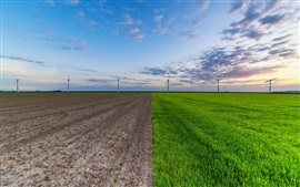 Preview wallpaper Green field, ground, windmills, sky, clouds