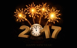 Preview wallpaper Happy New Year 2017, fireworks, clock