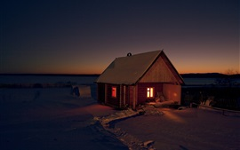 Preview wallpaper Hut, snow, winter, lights, night