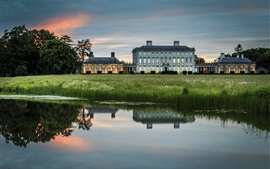 Preview wallpaper Ireland, manor, house, lake, water reflection, grass, dusk