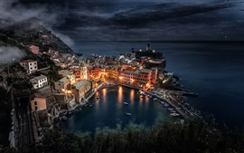 Preview wallpaper Italy, Liguria, Manarola, sea, boats, night, lights, rocks, houses