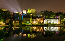 Preview wallpaper Italy, Turin, night, river, houses, lights