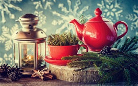 Kettle, cup, twigs, lantern, New Year