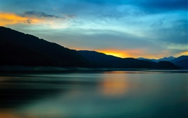 Lake, mountains, clouds, water reflection, sunset