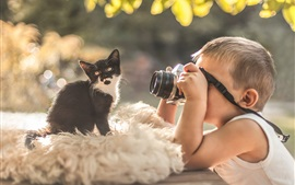 Preview wallpaper Little boy, photo shoot, kitty, camera