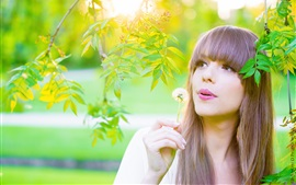 Preview wallpaper Long hair girl in summer, green leaves, twigs