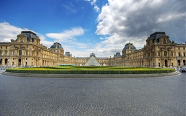 Preview wallpaper Louvre, museum, glass pyramid, clouds, Paris, France
